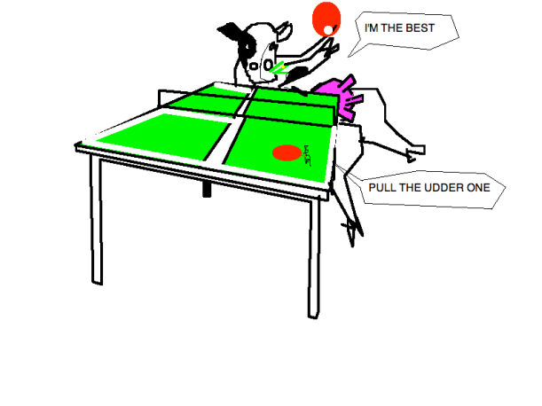 A COW PLAYING TABLE TENNIS WITH AN ANT THE COW IS WINNING